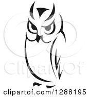 Clipart Of A Black And White Sketched Owl Facing Slightly Left Royalty Free Vector Illustration