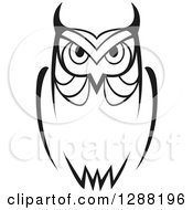 Clipart Of A Black And White Sketched Owl Royalty Free Vector Illustration