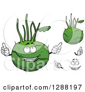 Clipart Of Kohlrabi With Hands And A Face Royalty Free Vector Illustration