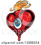 Clipart Of A Red Heart With A Blue Eyeball And Orange Flames 3 Royalty Free Vector Illustration by Seamartini Graphics