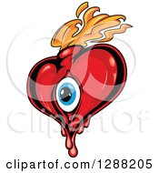 Clipart Of A Red Heart With A Blue Eyeball And Orange Flames 4 Royalty Free Vector Illustration by Seamartini Graphics