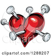 Clipart Of A Red Heart Poked With Nails Royalty Free Vector Illustration by Seamartini Graphics
