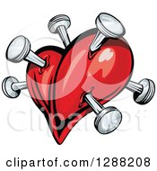Clipart Of A Red Heart Poked With Nails 2 Royalty Free Vector Illustration by Seamartini Graphics