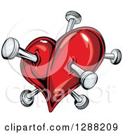 Clipart Of A Red Heart Poked With Nails 3 Royalty Free Vector Illustration
