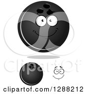 Clipart Of Grayscale Bowling Balls And A Face 2 Royalty Free Vector Illustration by Seamartini Graphics