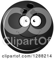 Clipart Of A Grayscale Smiling Bowling Ball Character 2 Royalty Free Vector Illustration by Seamartini Graphics