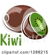 Clipart Of A Halved And Whole Kiwi Fruit With Text Royalty Free Vector Illustration by Seamartini Graphics