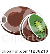Clipart Of A Halved And Whole Kiwi Fruit Royalty Free Vector Illustration