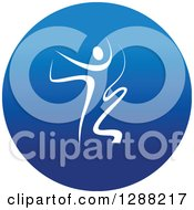 Clipart Of A White Ribbon Dancer In A Round Blue Icon 3 Royalty Free Vector Illustration