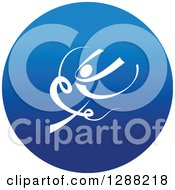 Clipart Of A White Ribbon Dancer In A Round Blue Icon 2 Royalty Free Vector Illustration