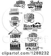 Clipart Of A Black And White Barber Shop Designs 3 Royalty Free Vector Illustration