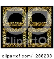 Clipart Of Gold Ornate Floral Frames Over Black Royalty Free Vector Illustration by Seamartini Graphics