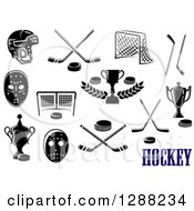 Clipart Of Black And White Hockey Designs And Text Royalty Free Vector Illustration