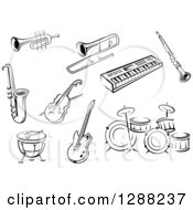 Clipart Of Black And White Sketched Instruments Royalty Free Vector Illustration