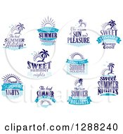 Clipart Of Blue Summer Designs Royalty Free Vector Illustration
