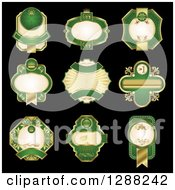 Clipart Of Vintage Ornate Gold And Green Blank Labels On Black Royalty Free Vector Illustration by Seamartini Graphics