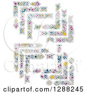 Clipart Of Colorful Celtic Knot Corner Borders 3 Royalty Free Vector Illustration by Seamartini Graphics