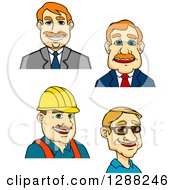 Clipart Of Cartoon Avatars Of Caucasian Businessmen And A Contractor Royalty Free Vector Illustration by Vector Tradition SM
