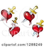 Clipart Of Swords Stabbing Bleeding Hearts 2 Royalty Free Vector Illustration by Seamartini Graphics