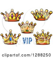 Clipart Of Gold Cartoon Crowns With Vip Text Royalty Free Vector Illustration