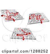 Clipart Of 3d Mazes With Red Arrow Paths Royalty Free Vector Illustration by Seamartini Graphics