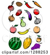Clipart Of Fruit And Veggies Royalty Free Vector Illustration