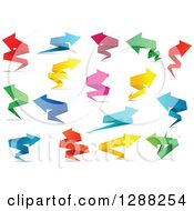 Clipart Of Colorful Paper Arrows And Shadows 2 Royalty Free Vector Illustration by Seamartini Graphics