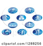 Clipart Of Oval Icons Of White Cyclists Over Blue Royalty Free Vector Illustration by Vector Tradition SM