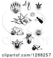 Clipart Of Black And White Bowling Balls And Pins Royalty Free Vector Illustration by Seamartini Graphics