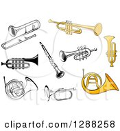Clipart Of Trumpets Trombones French Horns And A Clarinet Royalty Free Vector Illustration
