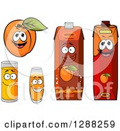 Clipart Of A Happy Apricot Character With Juice Glasses And Cartons Royalty Free Vector Illustration