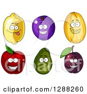Clipart Of Lemon Plum Canary Melon Red Apple And Avocado Characters Royalty Free Vector Illustration