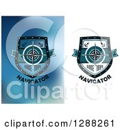 Clipart Of Navigator Compass Shield Designs Royalty Free Vector Illustration by Seamartini Graphics