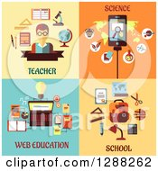 Clipart Of Flat Modern Styled Teacher Science Web Education And School Designs Royalty Free Vector Illustration