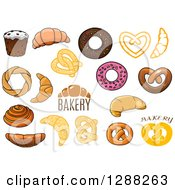 Clipart Of Bakery Foods With Text Royalty Free Vector Illustration by Seamartini Graphics