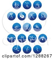 Clipart Of White People Dancing And Performing Sports In Blue Icons Royalty Free Vector Illustration