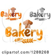 Clipart Of Chef Hat Shaped Muffins Or Bread Loaves Over Bakery Text And Wheat Stalks Royalty Free Vector Illustration by Seamartini Graphics