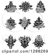 Clipart Of Black And White Arabesque Damask Designs 12 Royalty Free Vector Illustration