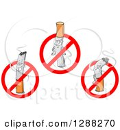 Clipart Of Cigarettes Inside Restricted Symbols Royalty Free Vector Illustration by Seamartini Graphics