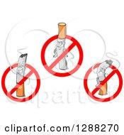 Clipart Of Cigarettes Inside Restricted Symbols Royalty Free Vector Illustration