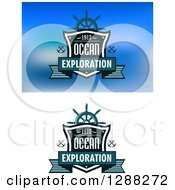 Clipart Of Ocean Exploration Shield Designs Royalty Free Vector Illustration by Seamartini Graphics