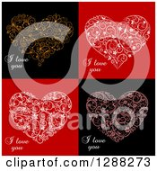 Clipart Of Floral Swirl Hearts With I Love You Text Over Red And Black Backgrounds Royalty Free Vector Illustration