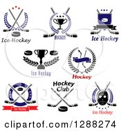 Clipart Of Ice Hockey Sports Designs With Text Royalty Free Vector Illustration