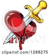 Clipart Of A Sword Stabbing A Bleeding Heart 2 Royalty Free Vector Illustration