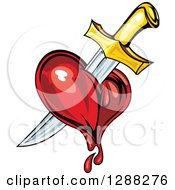 Clipart Of A Sword Stabbing A Bleeding Heart 3 Royalty Free Vector Illustration