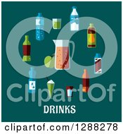 Clipart Of Flat Modern Beverages Around A Pitcher With Drinks Text On Teal Royalty Free Vector Illustration
