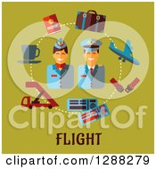 Stewardess And Pilot Encircled With Flat Modern Icons Over Flight Text On Green