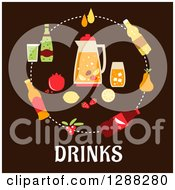 Clipart Of Juice Beer Tea Soda Cocktail And Mineral Water Circling A Pitcher And Fruit Over Drinks Text On Brown Royalty Free Vector Illustration