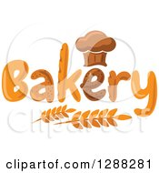 Clipart Of A Chef Hat Shaped Muffin Or Bread Loaf Over Bakery Text And Wheat 2 Royalty Free Vector Illustration by Vector Tradition SM