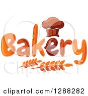 Clipart Of A Chef Hat Shaped Muffin Or Bread Loaf Over Bakery Text And Wheat Royalty Free Vector Illustration